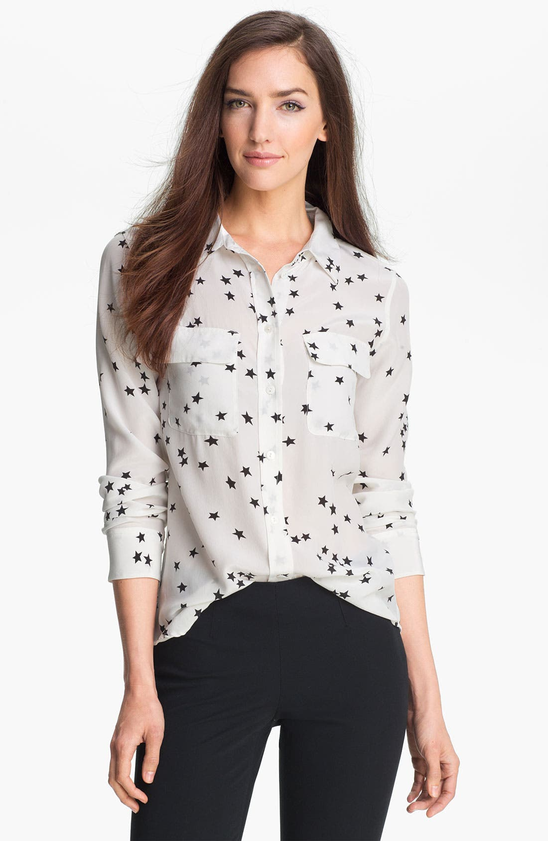'Starry Night' Silk Shirt,                         Main,                         color, Bright White/ Black