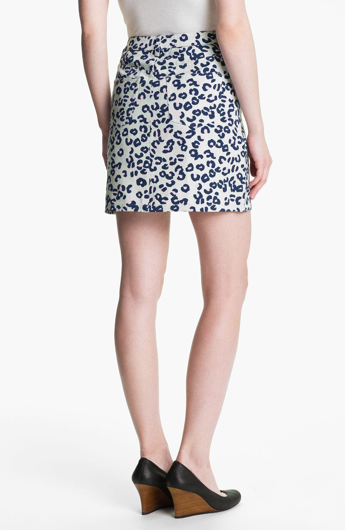 Alternate Image 2  - A.P.C. Leopard Print Denim Miniskirt