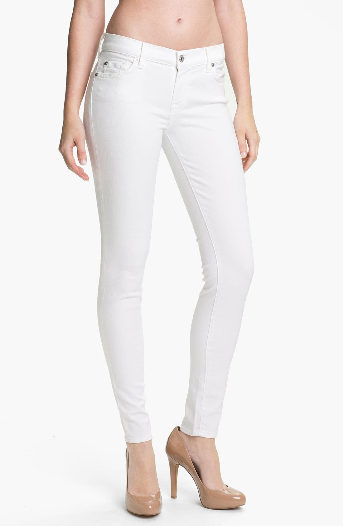 Alternate Image 1 Selected - 7 For All Mankind® 'Slim Illusion' Overdyed Skinny Stretch Jeans (Stark White)