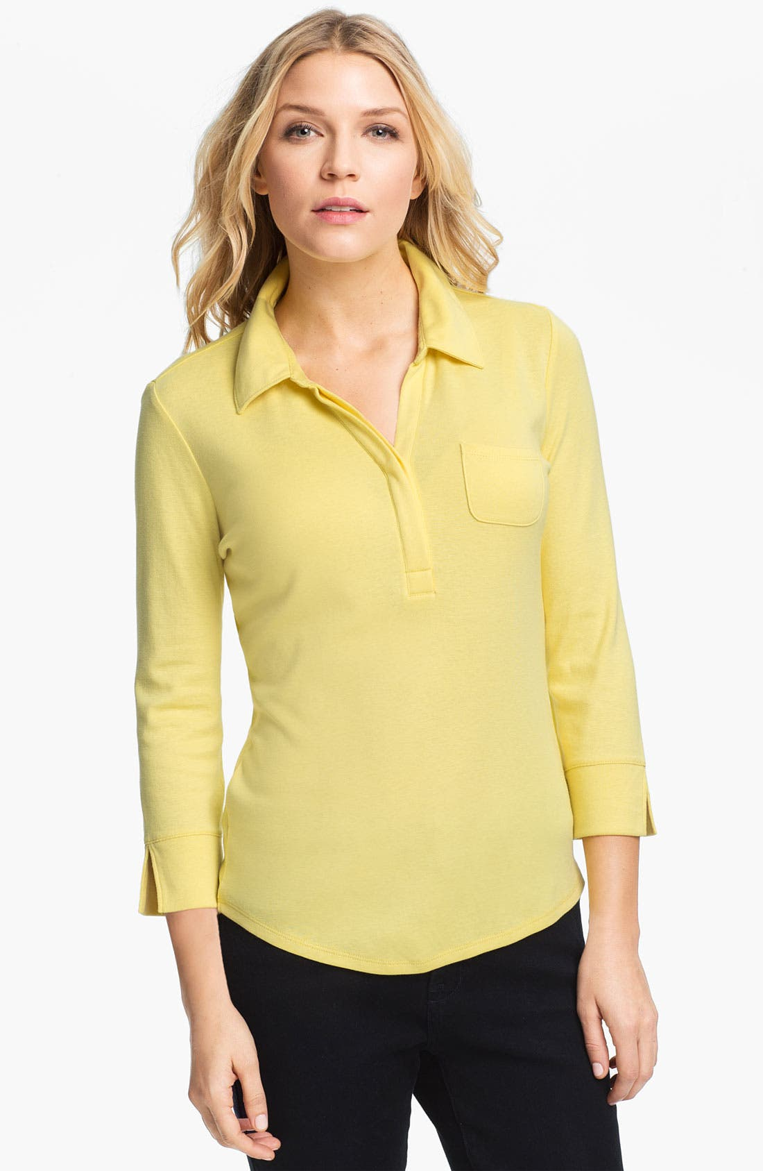 Accordion Rib Polo Tee,                             Main thumbnail 1, color,                             Yellow Glow