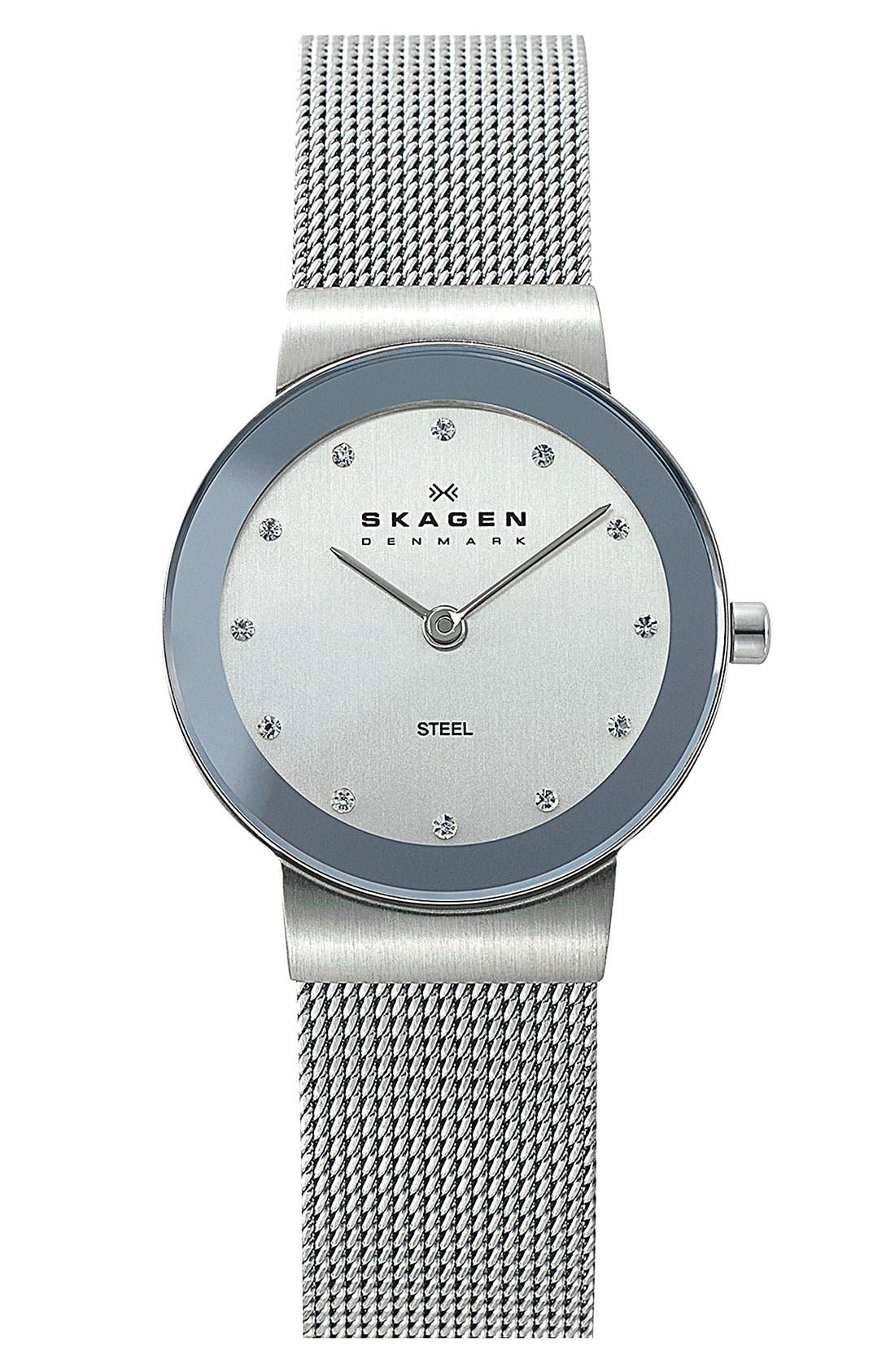 Main Image - Skagen Round Case Mesh Strap Watch, 26mm