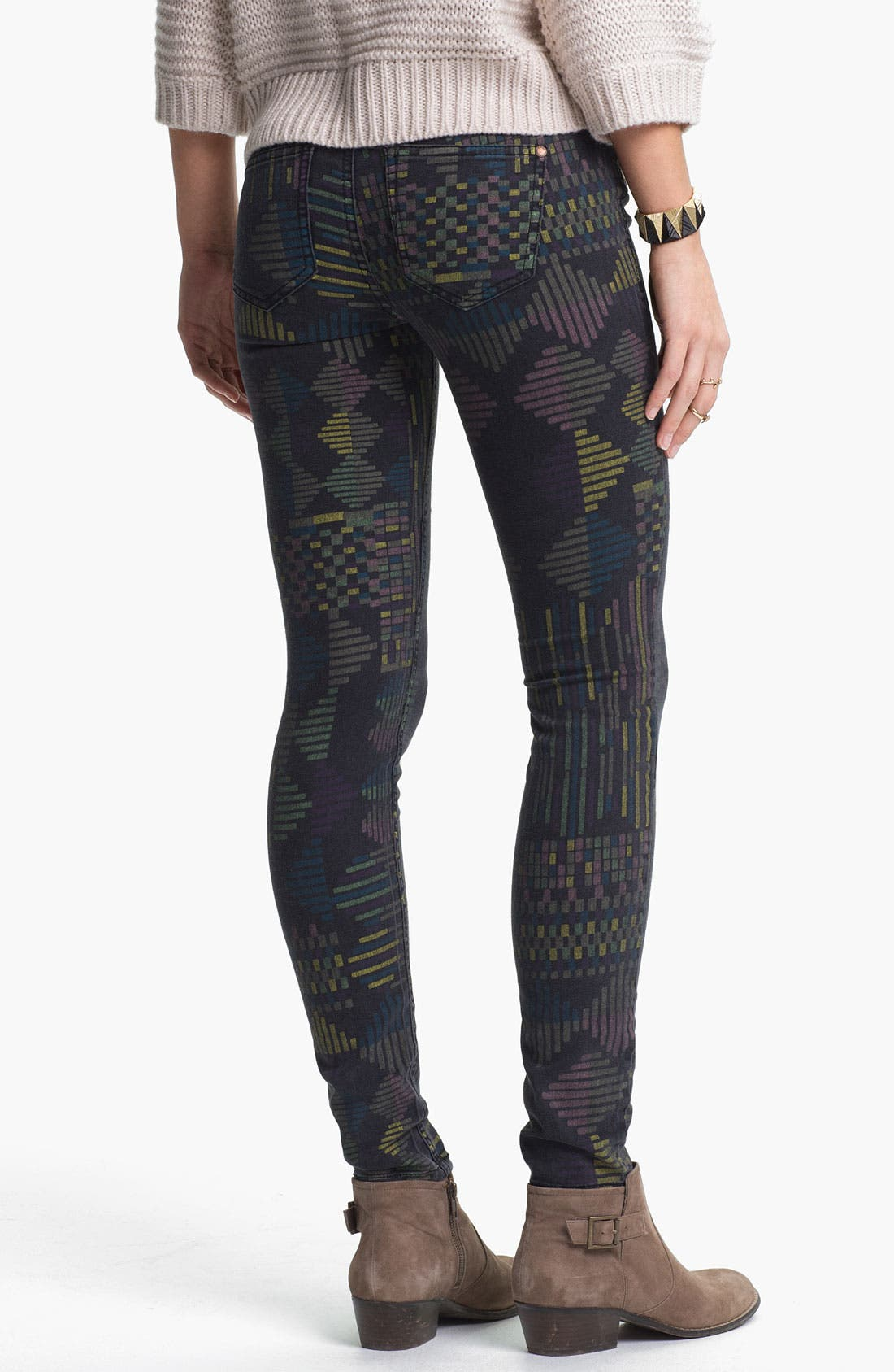 Alternate Image 1 Selected - Fire Print Skinny Jeans (Geo Print) (Juniors)