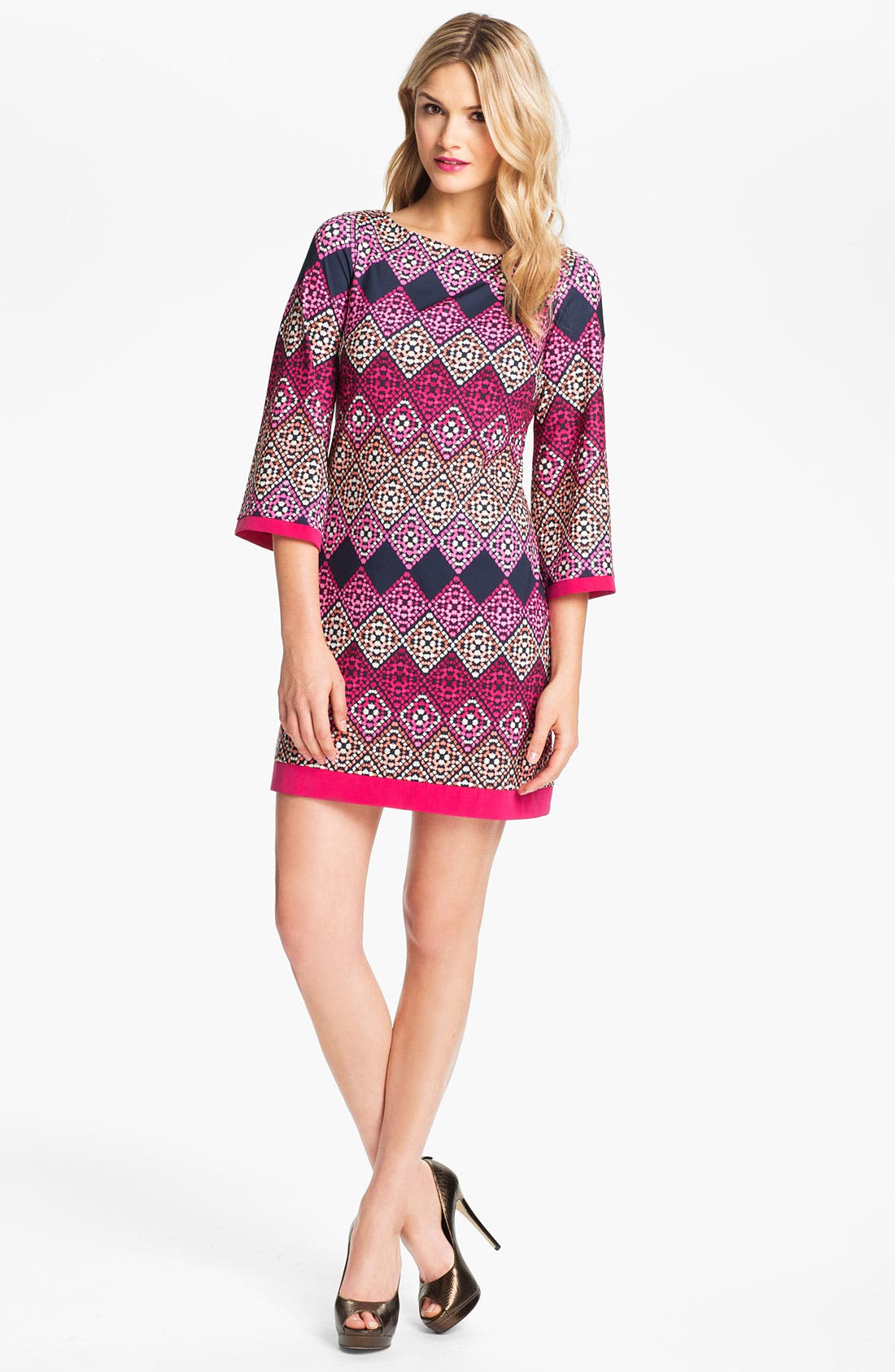Main Image - Eliza J Diamond Print Jersey Shift Dress