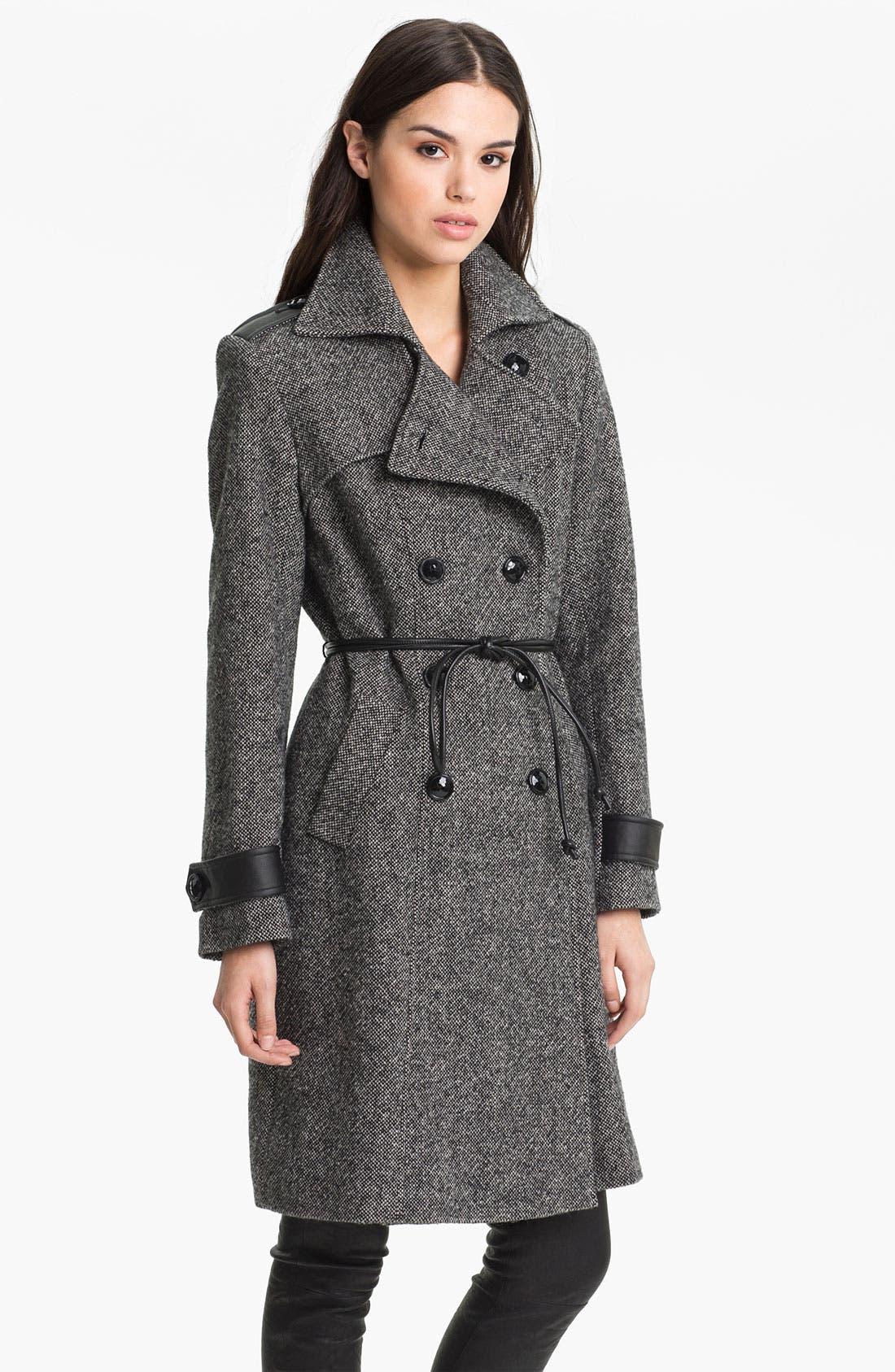 Main Image - George Simonton Studio Belted Leather Trim Coat