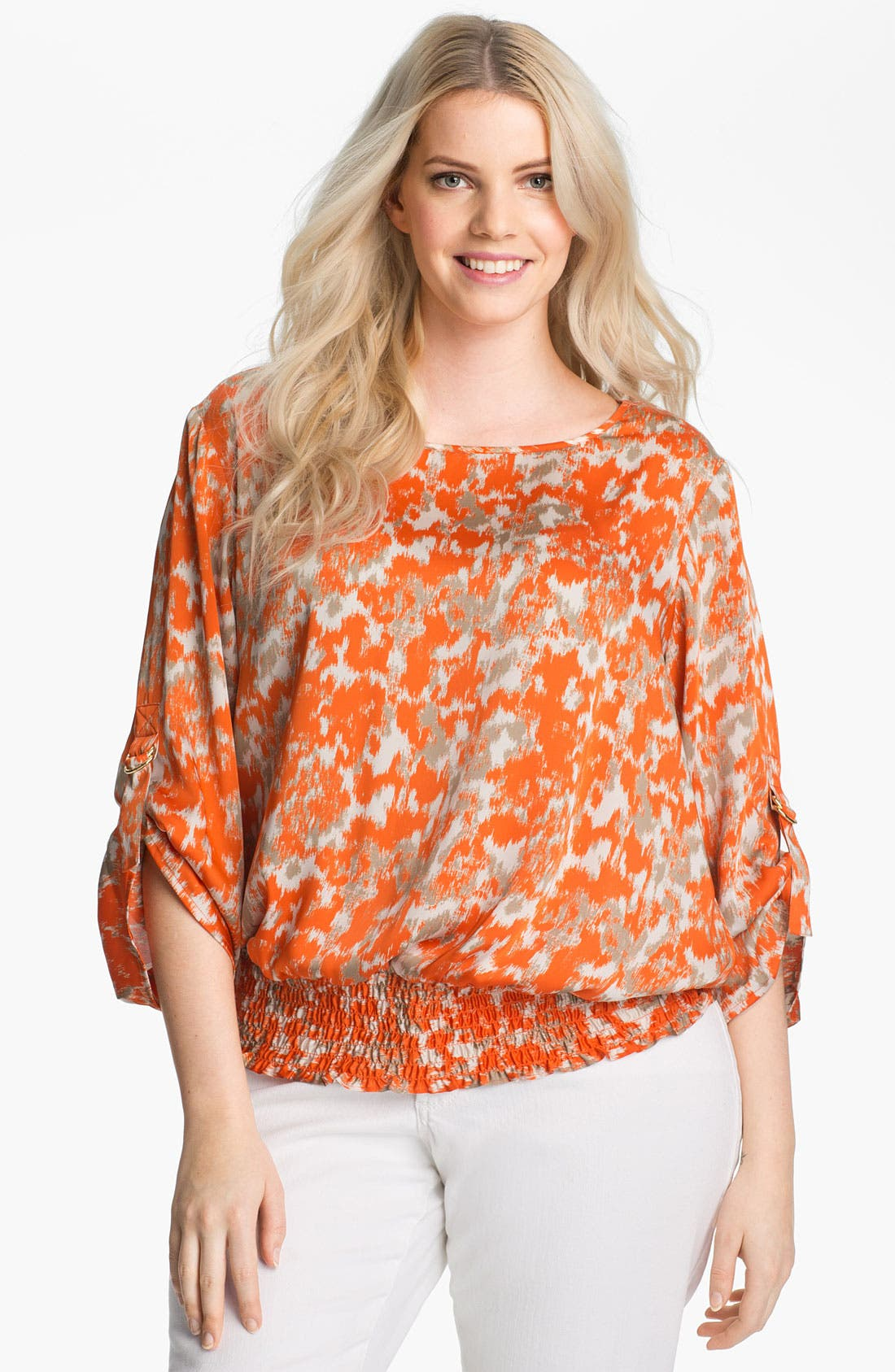 Alternate Image 1 Selected - MICHAEL Michael Kors Print Peasant Top (Plus)