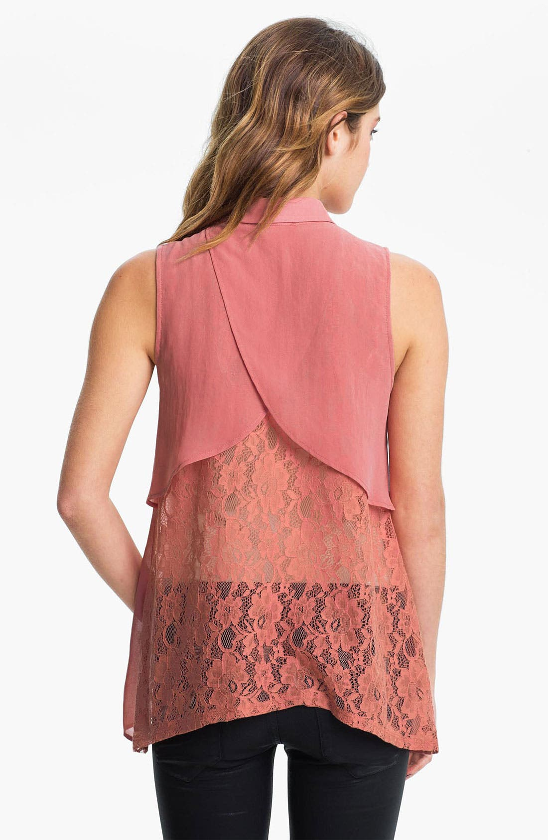 Alternate Image 2  - Lush Lace Back Chiffon Shirt (Juniors)