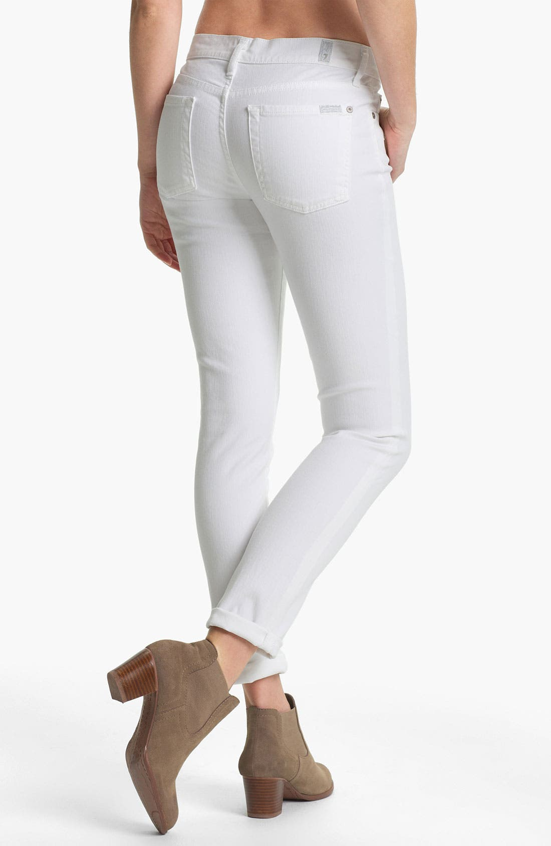 Alternate Image 2  - 7 For All Mankind® 'The Slim Cigarette' Stretch Jeans (Clean White)