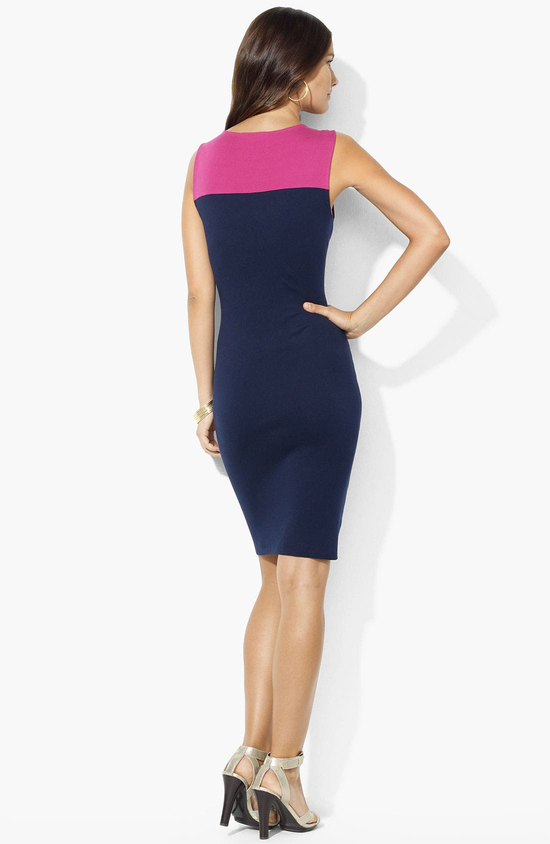 Alternate Image 2  - Lauren Ralph Lauren Colorblock Sheath Dress (Petite)
