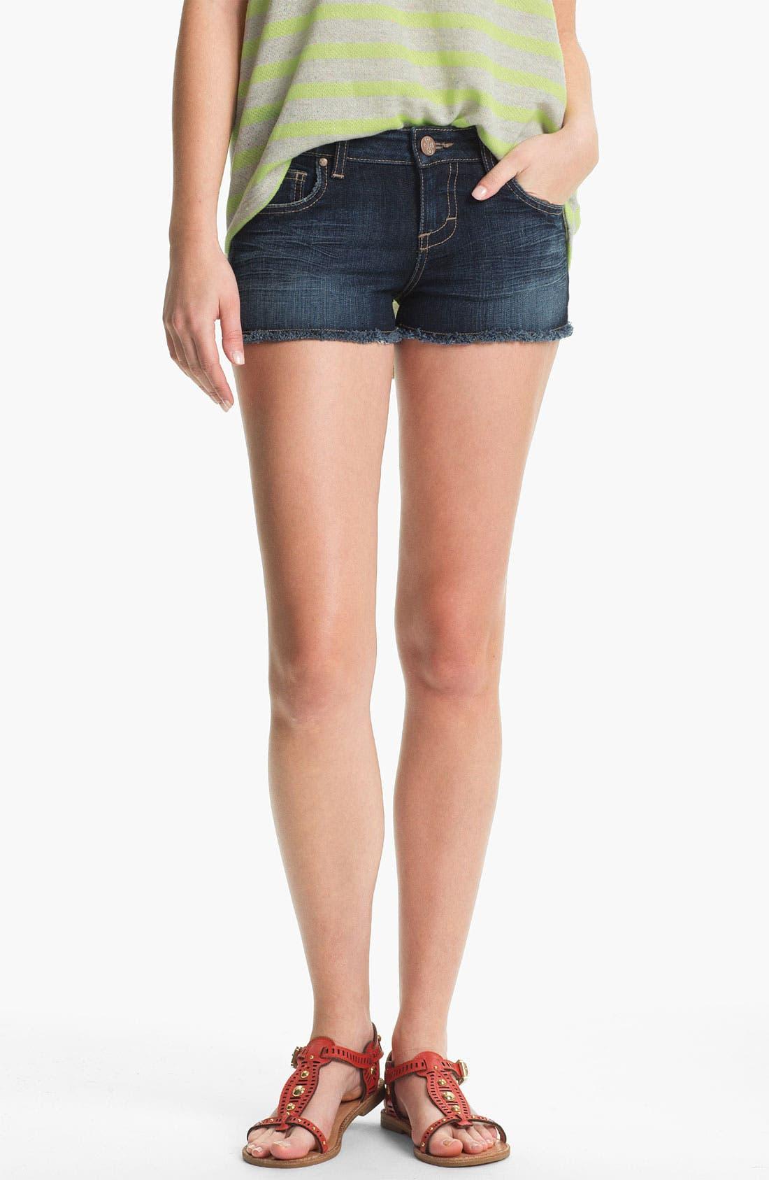 Alternate Image 1 Selected - STS Blue Cutoff Denim Shorts (Dark) (Juniors)