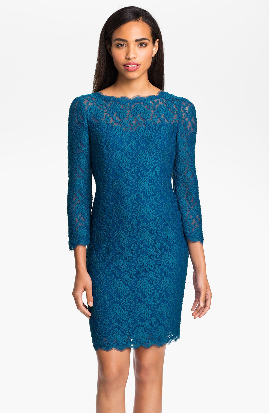 Alternate Image 1 Selected - Adrianna Papell V-Back Lace Sheath Dress (Petite)