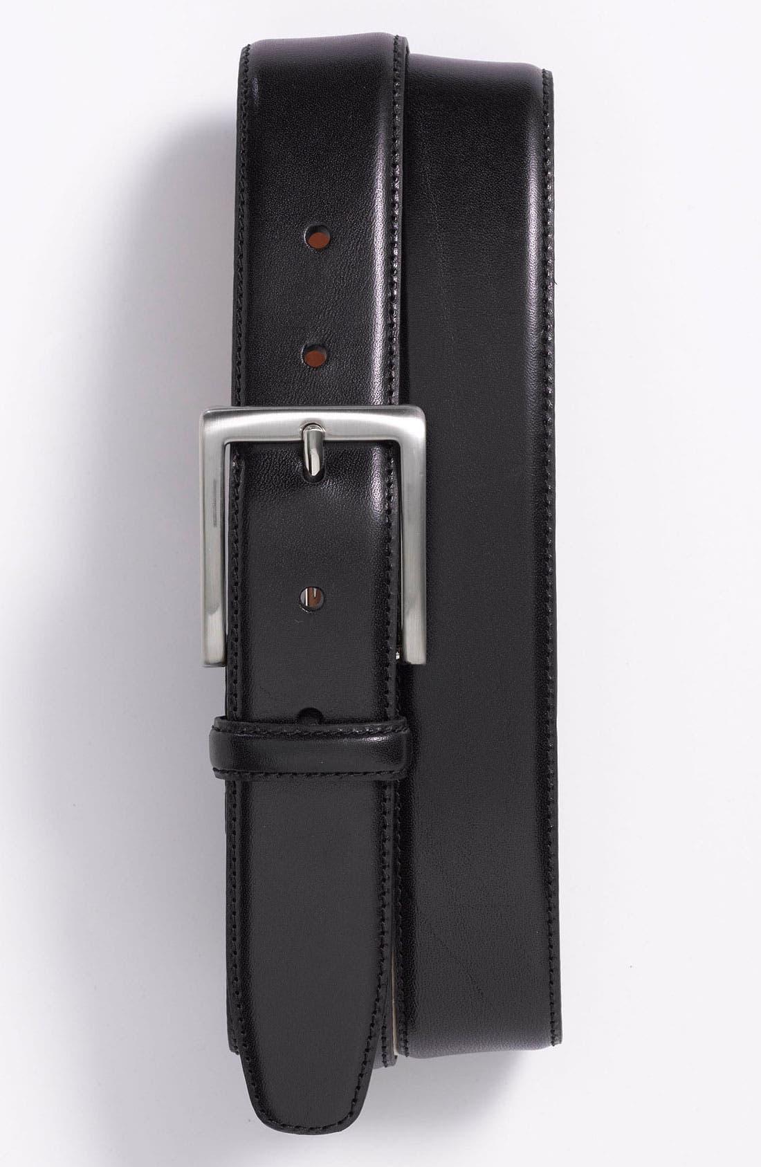 Alternate Image 1 Selected - Trafalgar Drop Edge Stitch Leather Dress Belt