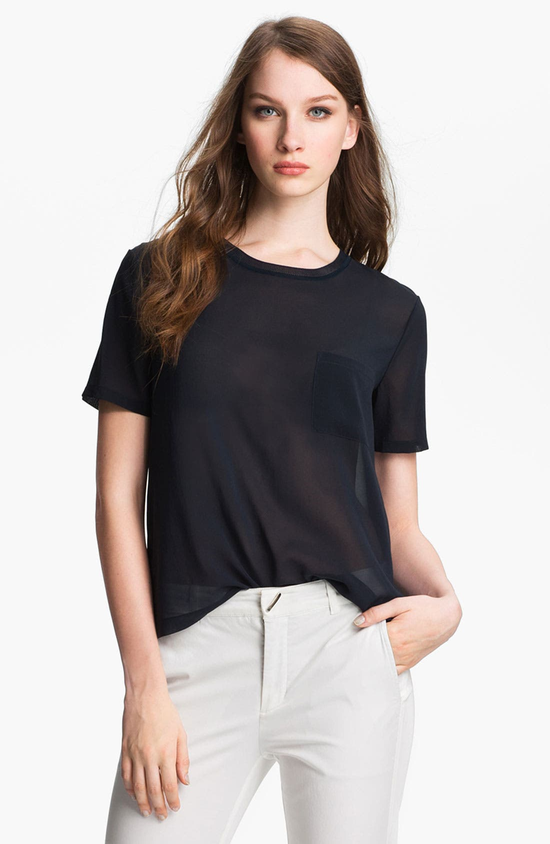Alternate Image 1 Selected - Vince Pocket Silk Tee