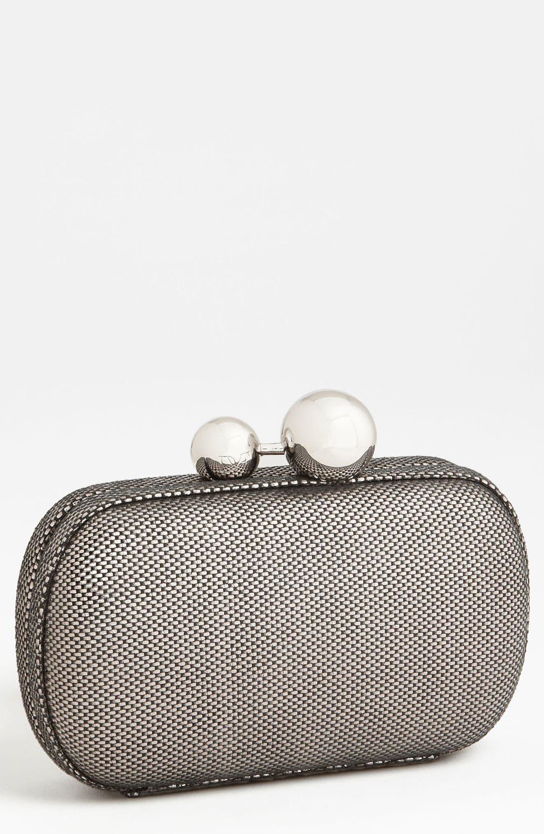 Main Image - Diane von Furstenberg Metallic Tweed Leather Minaudiere