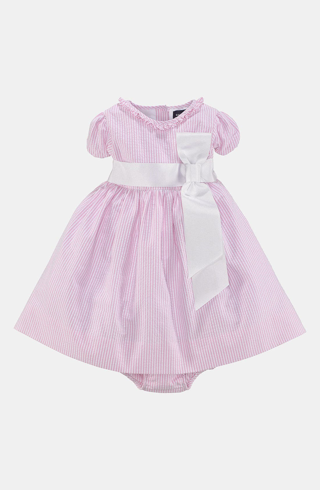 Alternate Image 1 Selected - Ralph Lauren Seersucker Dress & Bloomers (Baby Girls)
