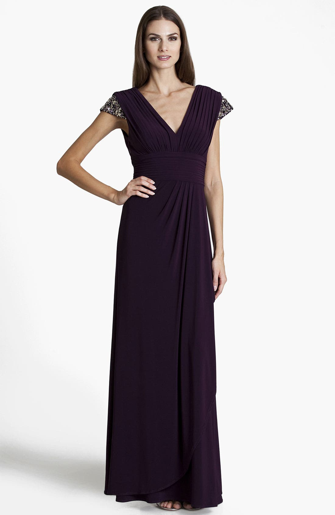 Main Image - JS Boutique Embellished Pleated Surplice Gown