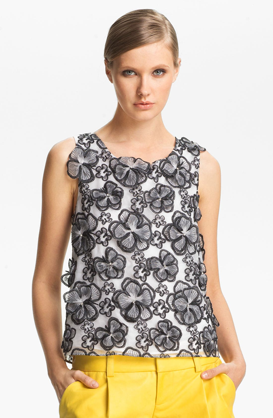 Alternate Image 2  - Alice + Olivia Flower Embellished Tank