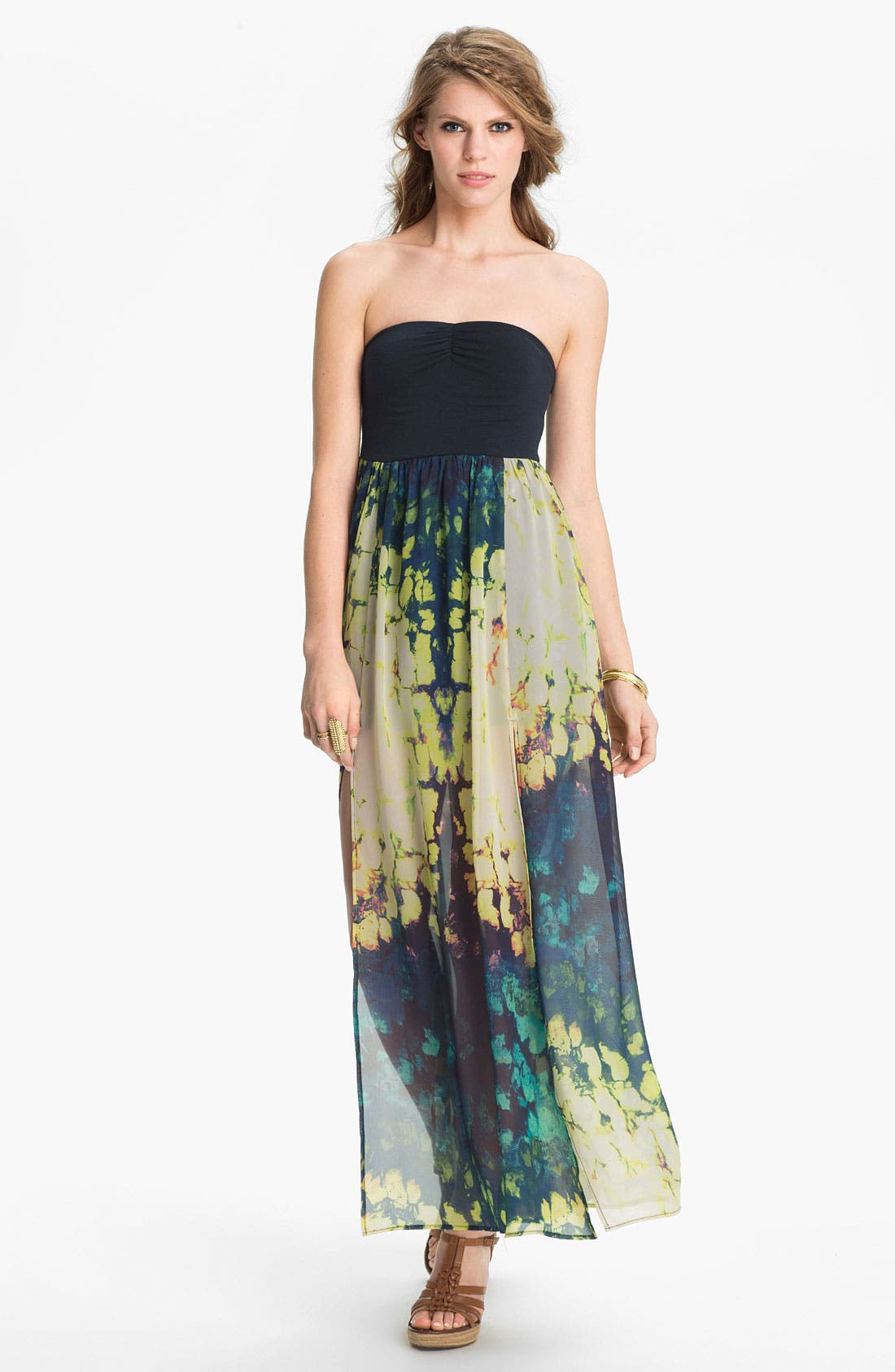 Main Image - Fire Strapless Print Chiffon Maxi Dress (Juniors)