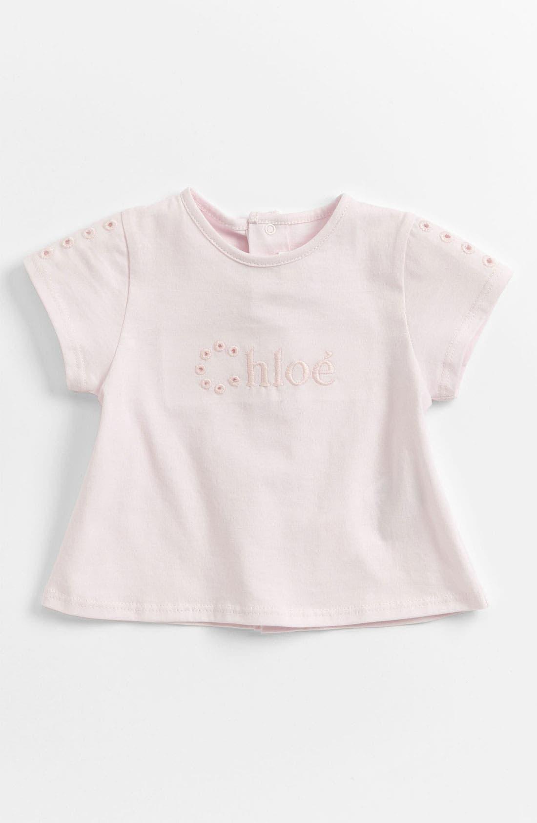 Main Image - Chloé Eyelet Logo Tee (Baby)