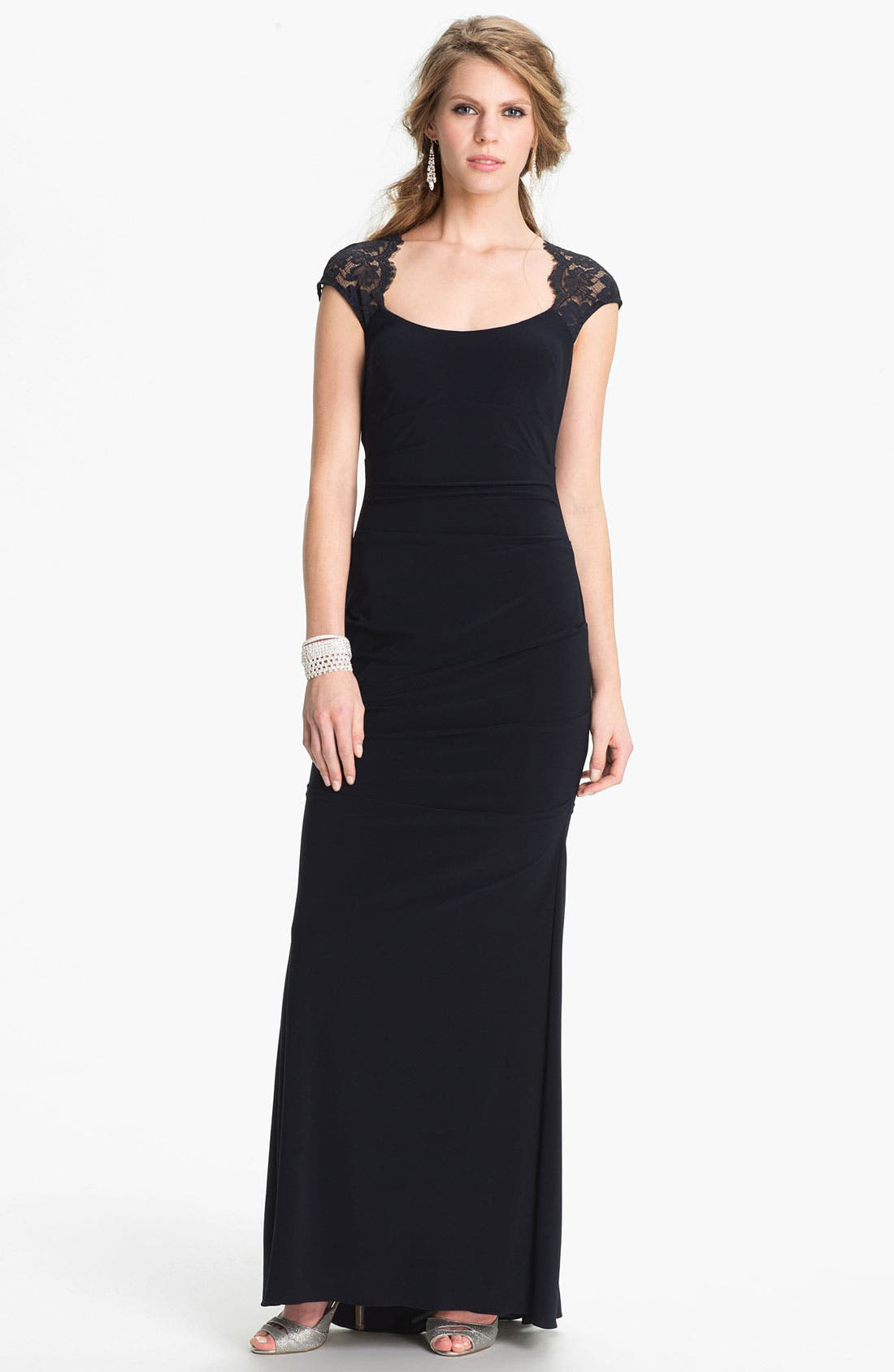 Main Image - Xscape Lace Cap Sleeve Jersey Gown