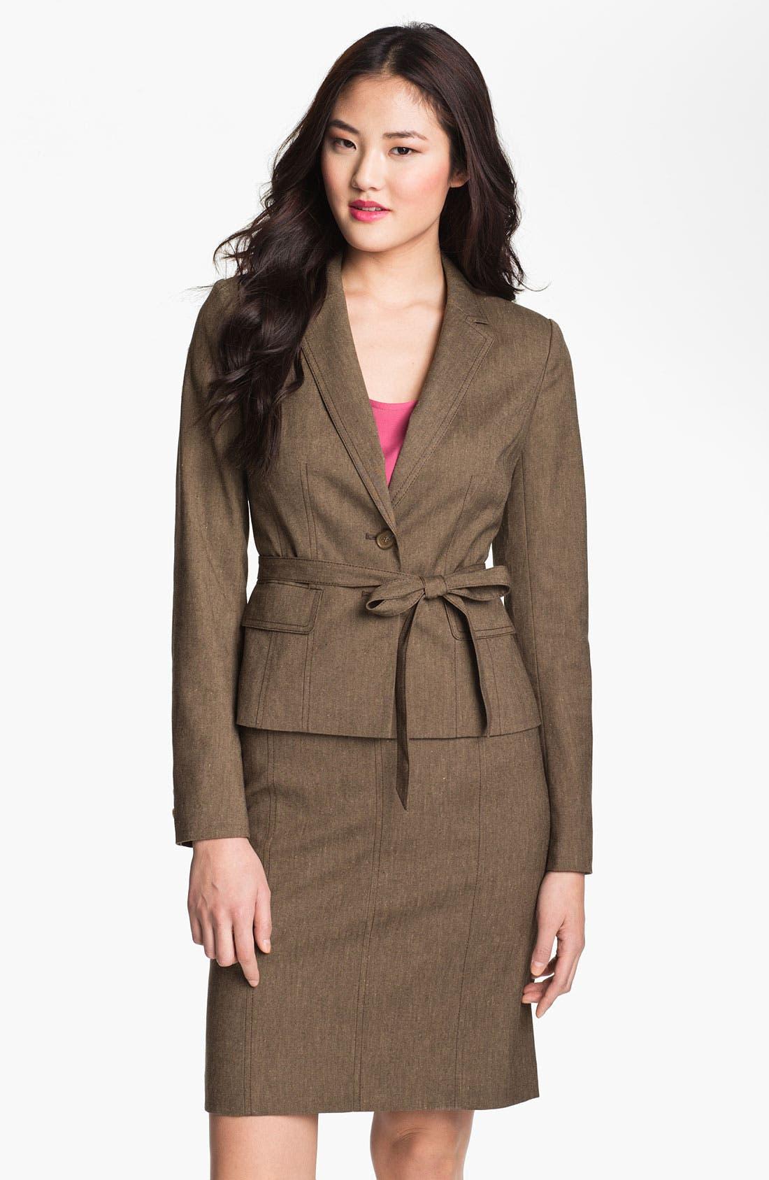 Alternate Image 1 Selected - Halogen® 'Subtle Stretch' Belted Jacket