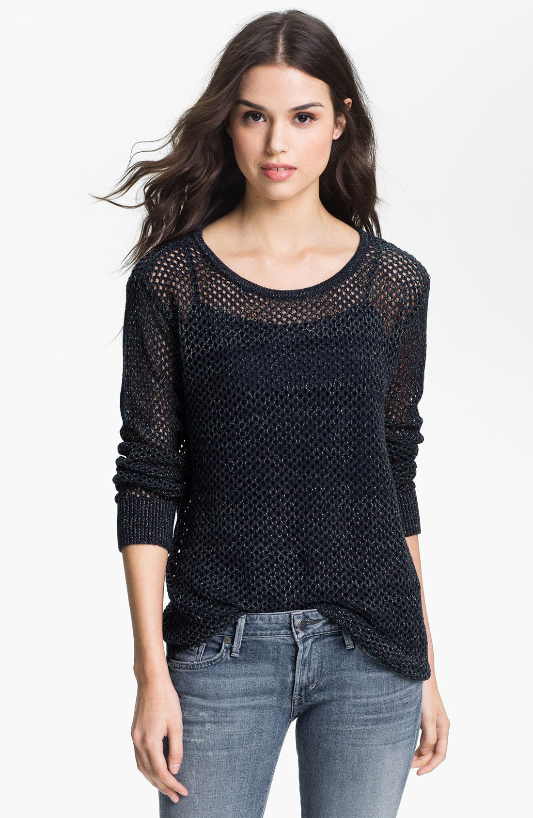 Main Image - Trouvé Metallic Mesh Sweater