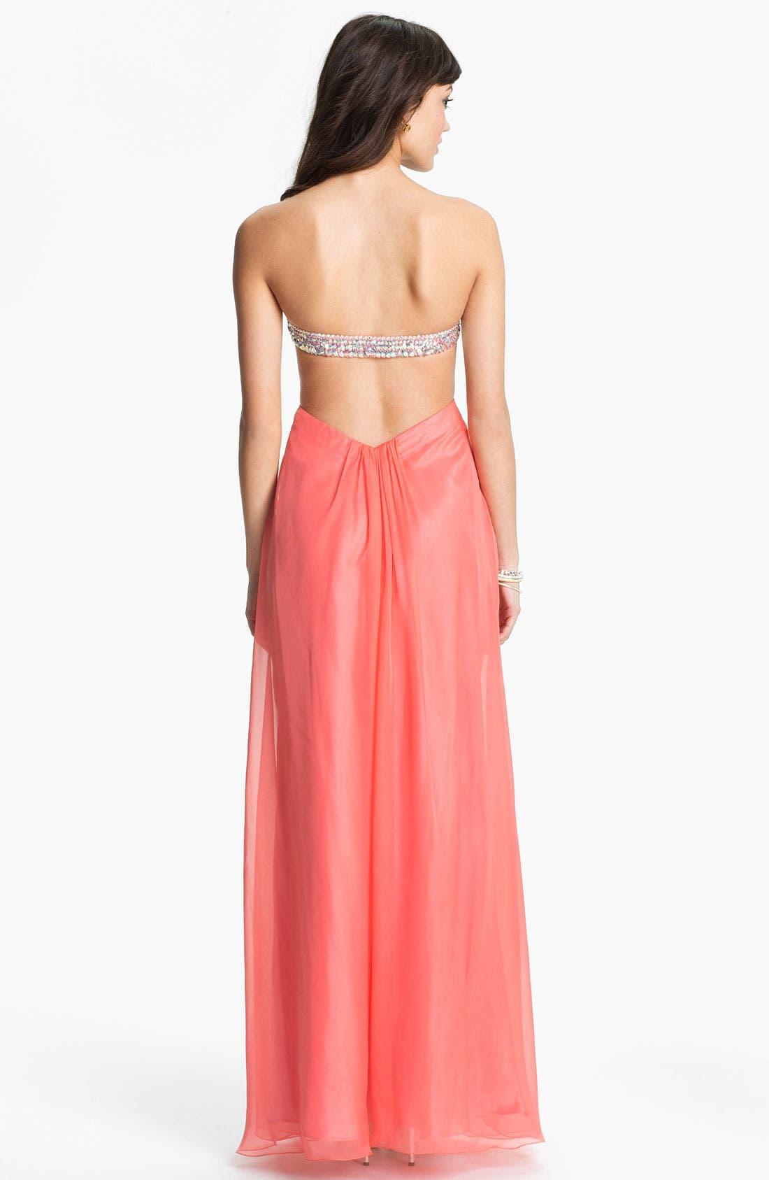 Alternate Image 2  - La Femme Embellished Sweetheart Chiffon Gown