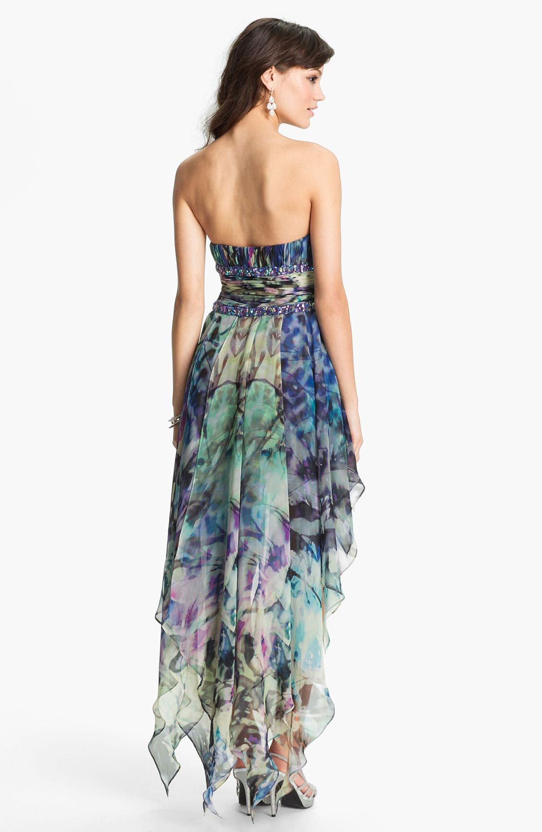 Alternate Image 2  - La Femme Embellished Print High/Low Chiffon Dress
