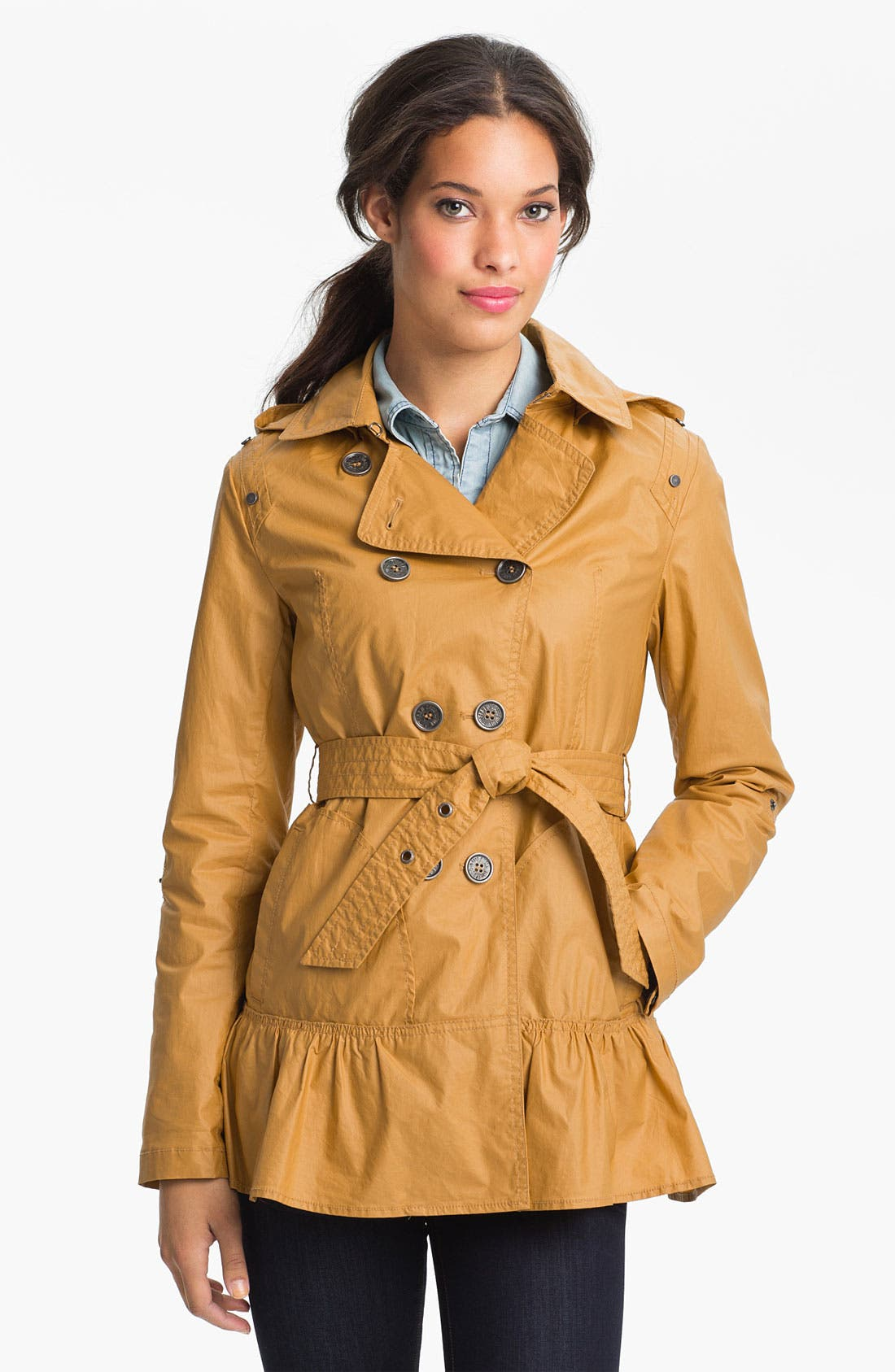 Alternate Image 2  - Buffalo by David Bitton Ruffle Hem Trench Coat (Online Only)