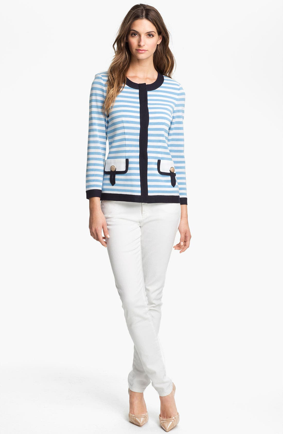 Alternate Image 4  - Exclusively Misook 'Rebecca' Stripe Jacket (Petite) (Online Exclusive)