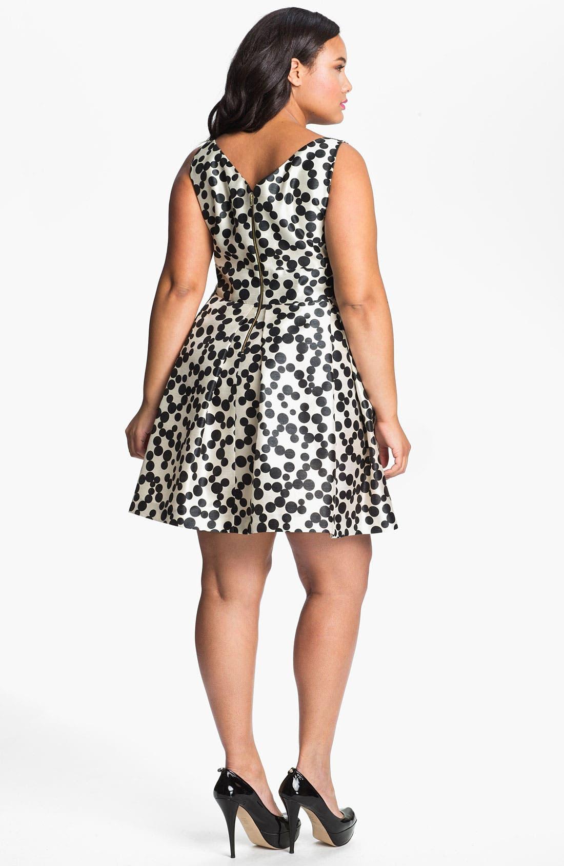 Alternate Image 2  - Taylor Dresses Polka Dot Fit & Flare Dress (Plus Size)