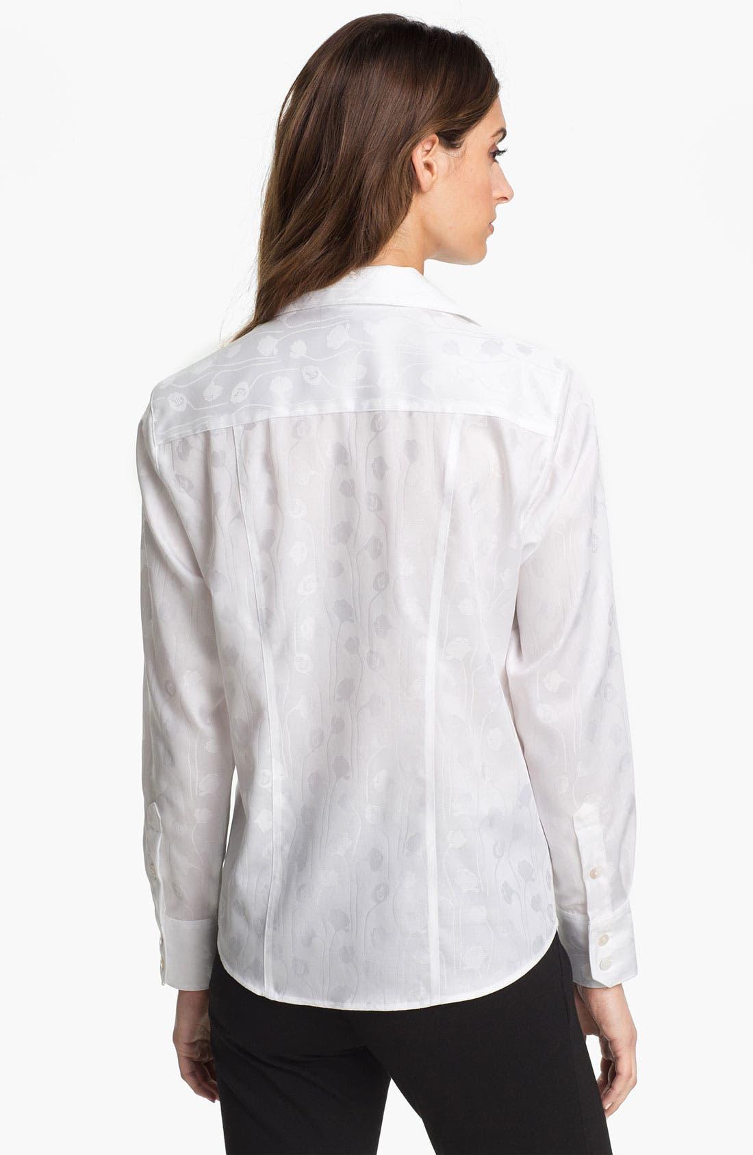 Alternate Image 2  - Foxcroft Floral Jacquard Shirt (Petite)