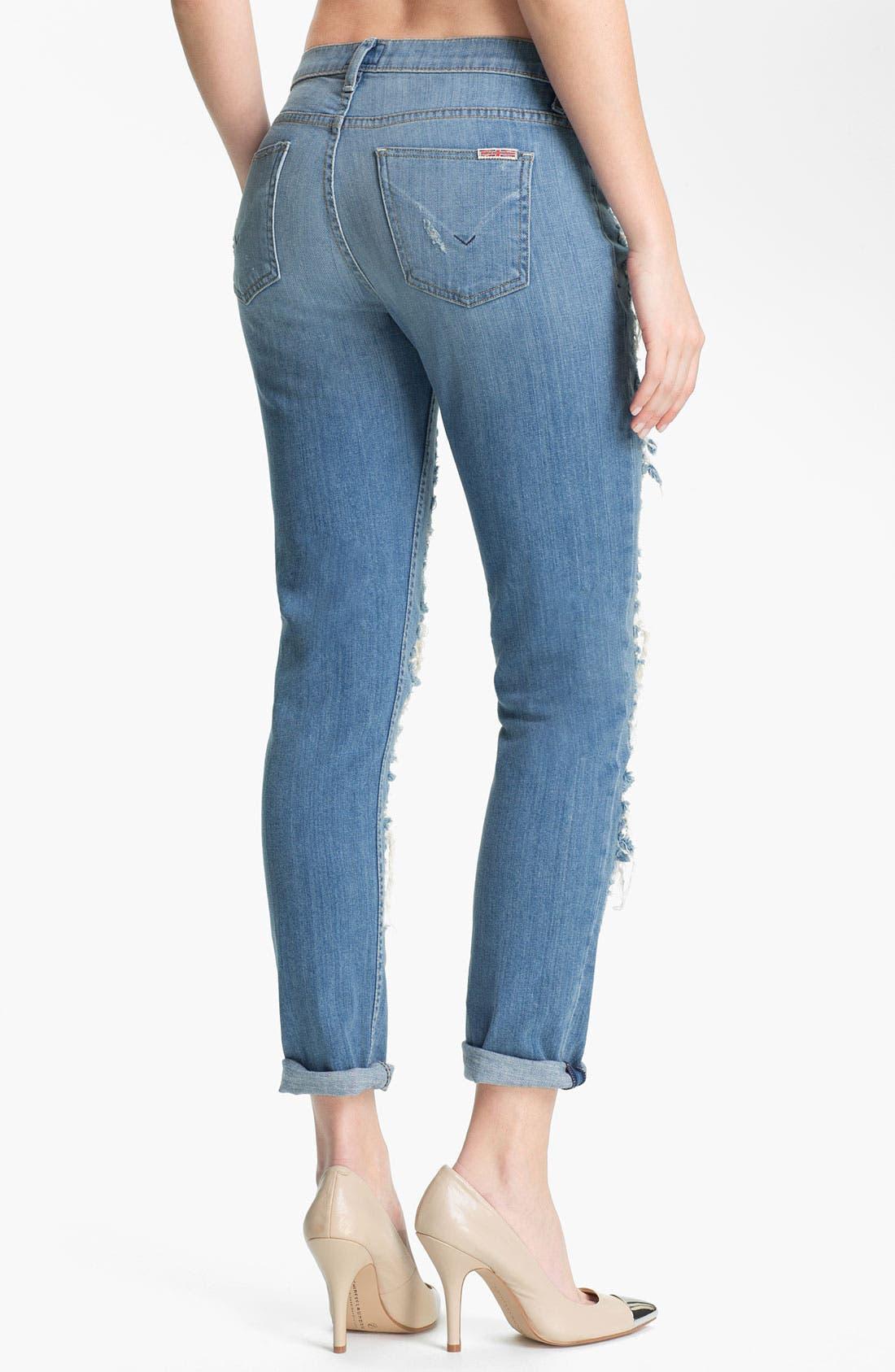 Alternate Image 2  - Hudson Jeans 'Courtney' Slashed Straight Leg Jeans (Anti-Establishment)