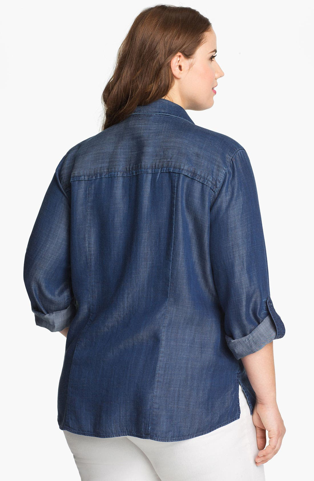 Alternate Image 2  - Foxcroft Long Sleeve Denim Shirt (Plus)