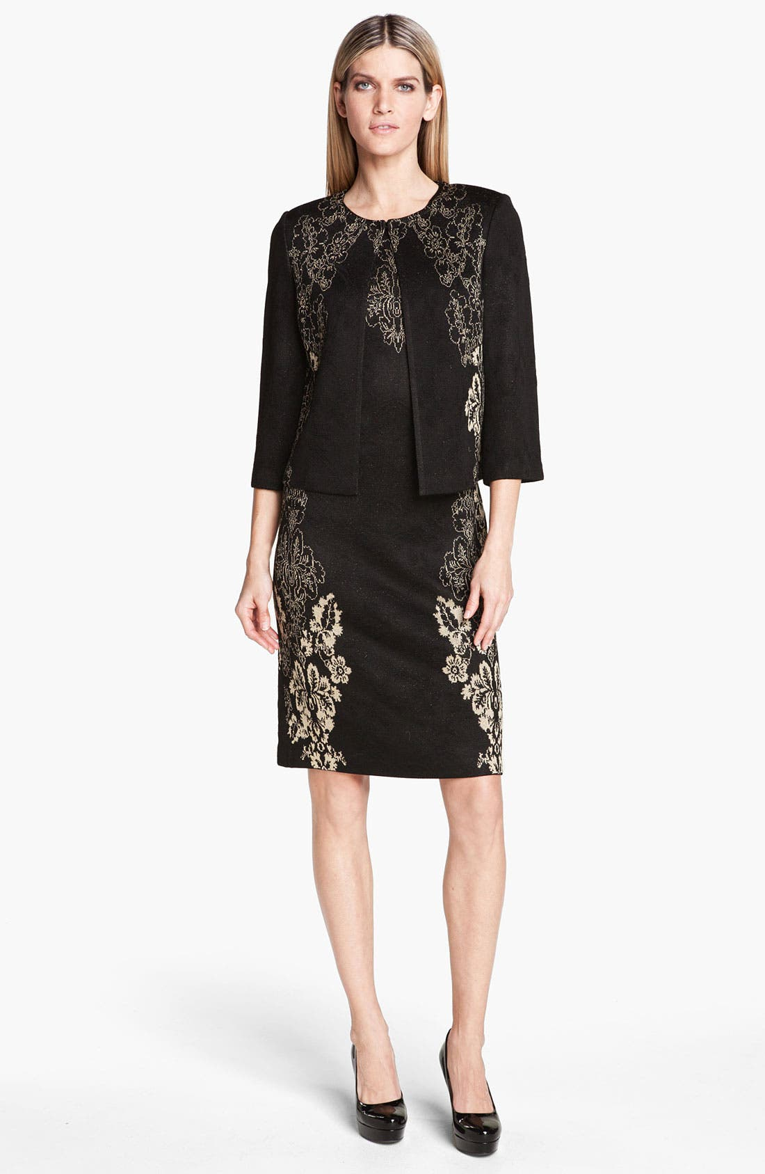 Alternate Image 2  - St. John Collection Floral Jacquard Knit Sheath Dress