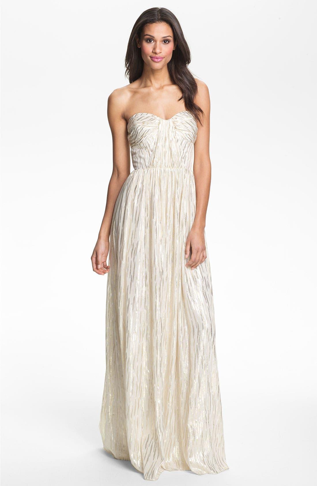 Alternate Image 1 Selected - ERIN erin fetherston Shirred Metallic Chiffon Gown