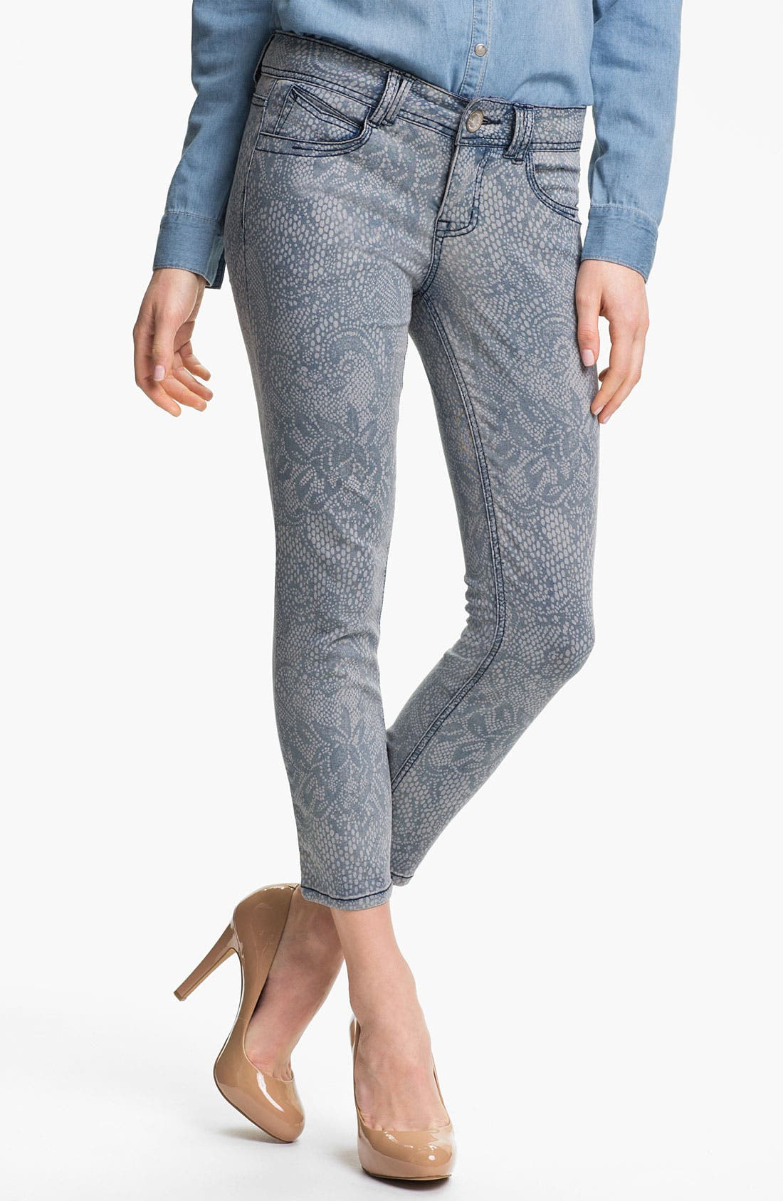 Alternate Image 1 Selected - Wit & Wisdom Lace Print Crop Jeans (Indigo) (Nordstrom Exclusive)