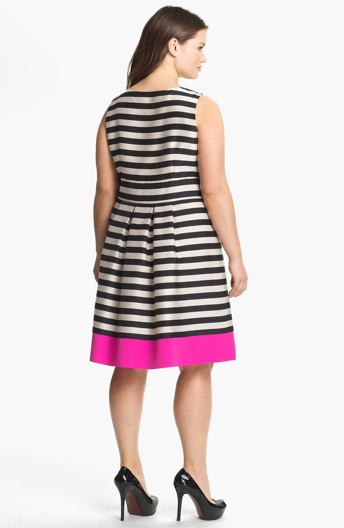 Alternate Image 2  - Eliza J Stripe Fit & Flare Dress (Plus Size)