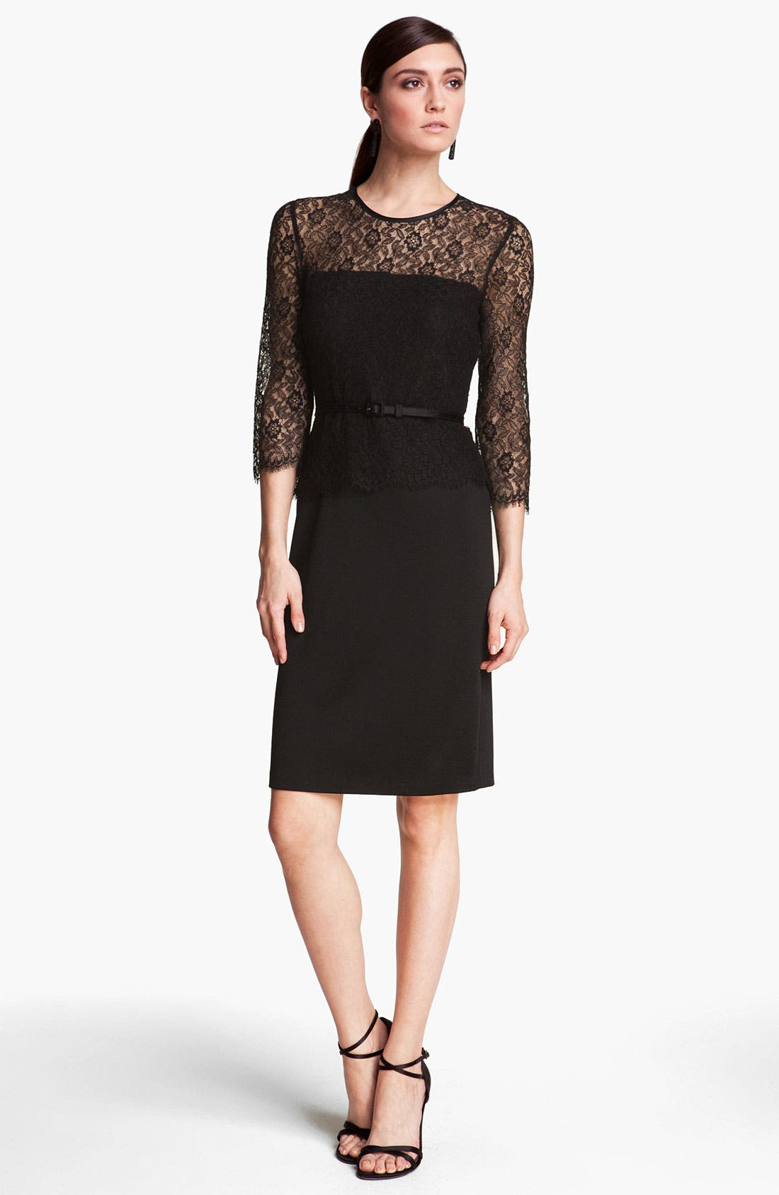 Alternate Image 1 Selected - St. John Collection Belted Floral Lace & Sateen Milano Dress