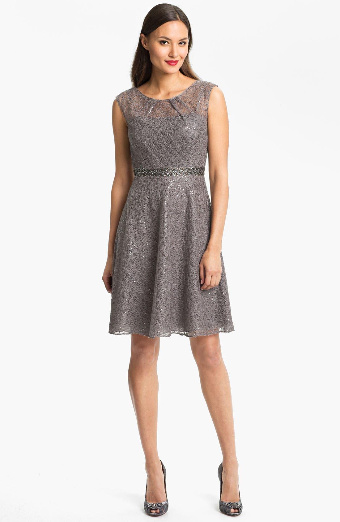 Alternate Image 1 Selected - Kay Unger Sequin Embellished Lace Dress