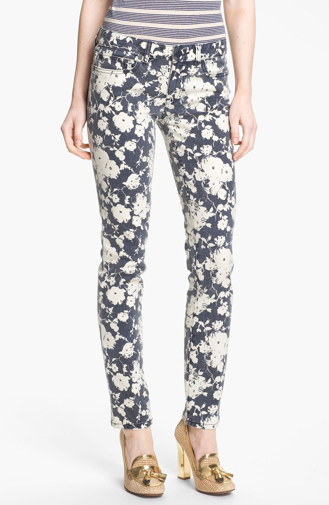 Alternate Image 1 Selected - Tory Burch 'Alexa' Print Skinny Jeans (Tory Navy Abbott)