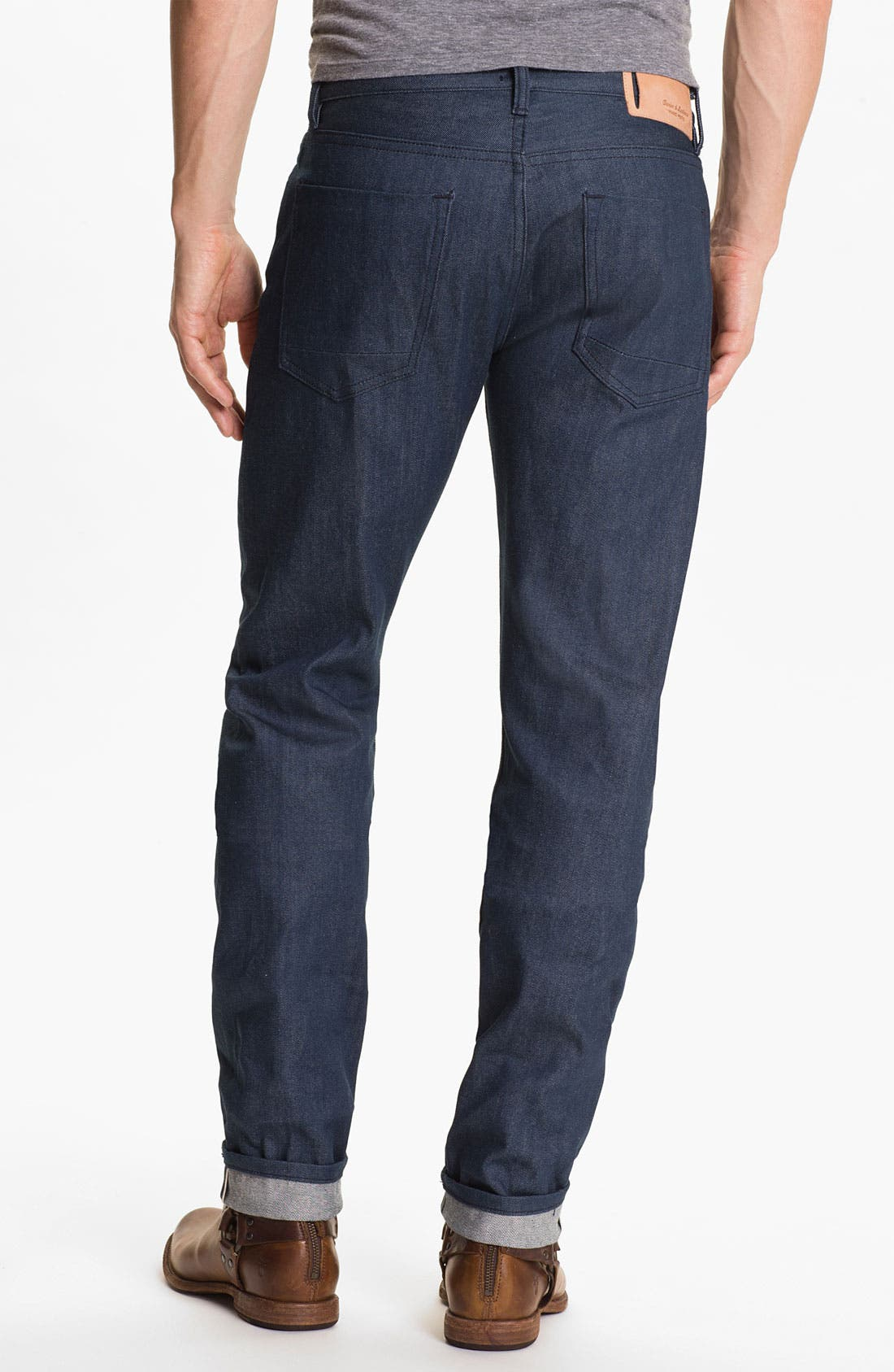 Main Image - Denim & Leathers by Andrew Marc 'Ocean' Slim Straight Leg Raw Selvedge Jeans (Indigo)
