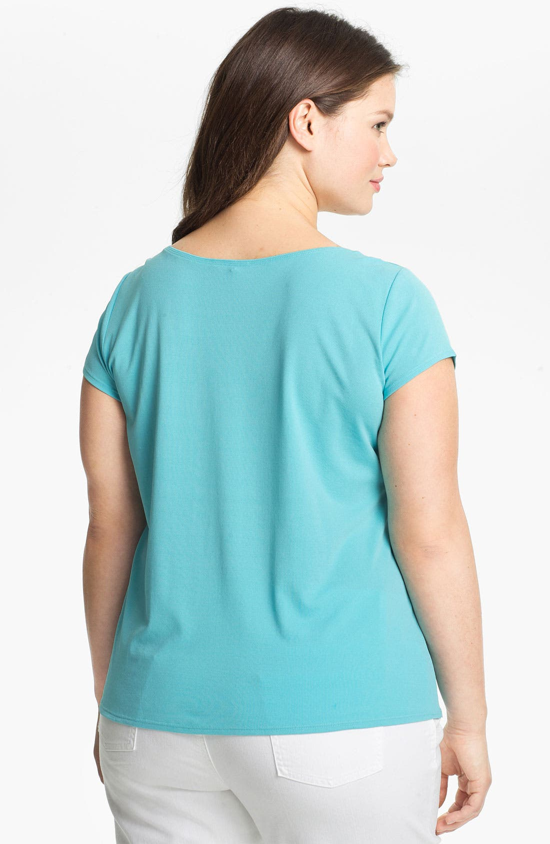 Alternate Image 2  - Eileen Fisher Scoop Neck Silk Tee (Plus Size)
