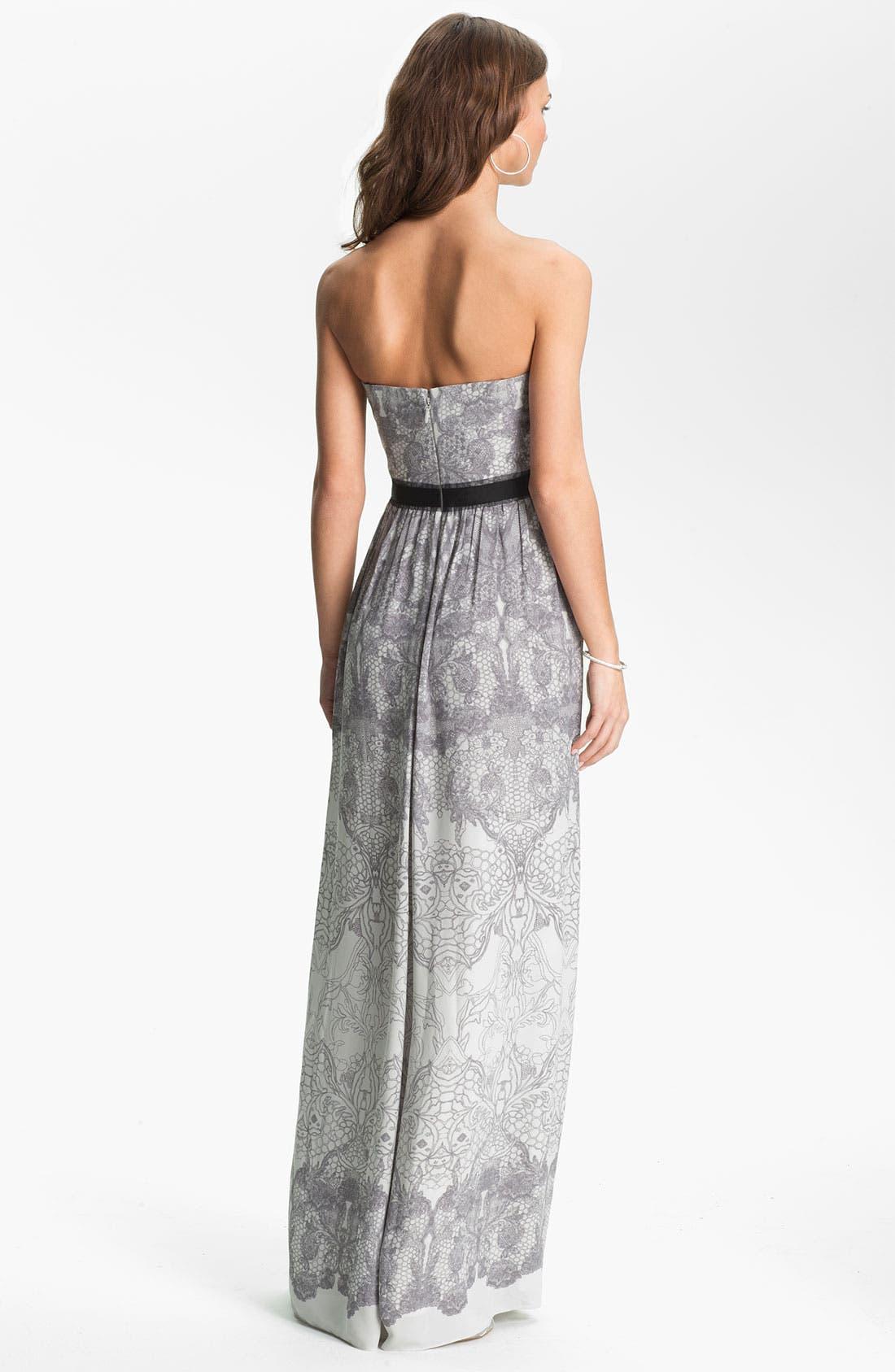 Alternate Image 2  - BCBGMAXAZRIA Strapless Print Chiffon Gown