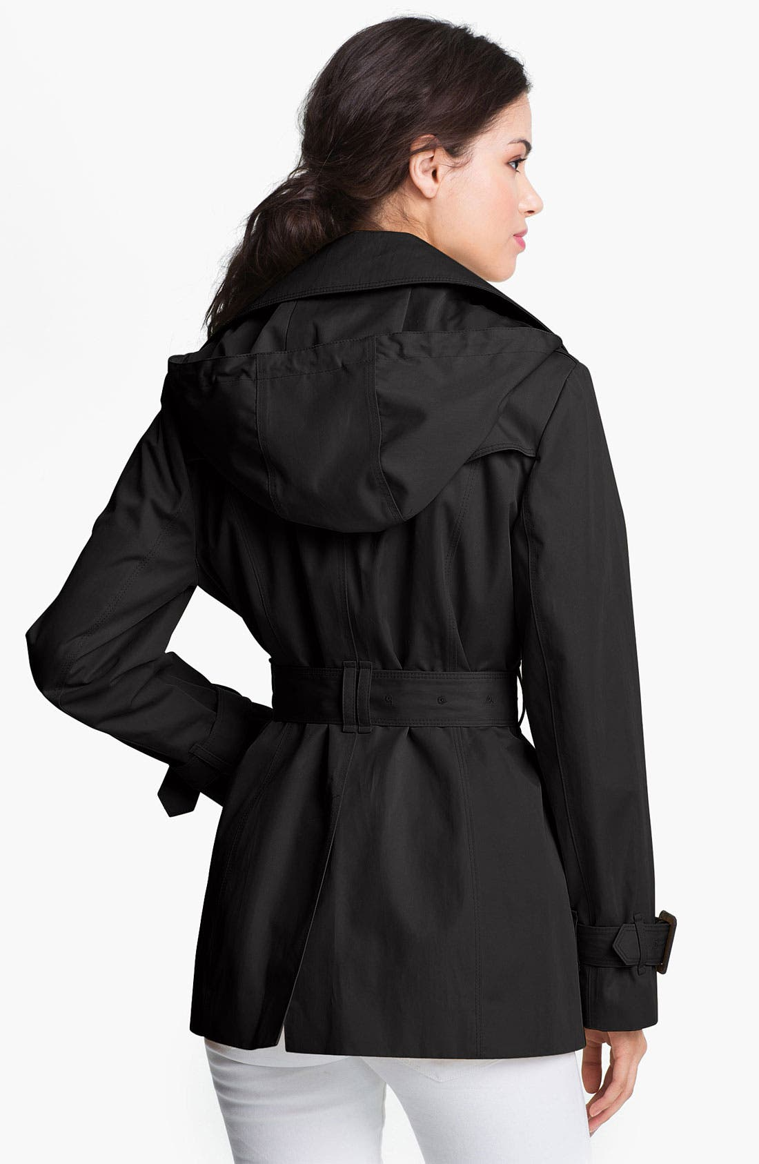 Alternate Image 2  - London Fog Short Trench Coat with Detachable Hood