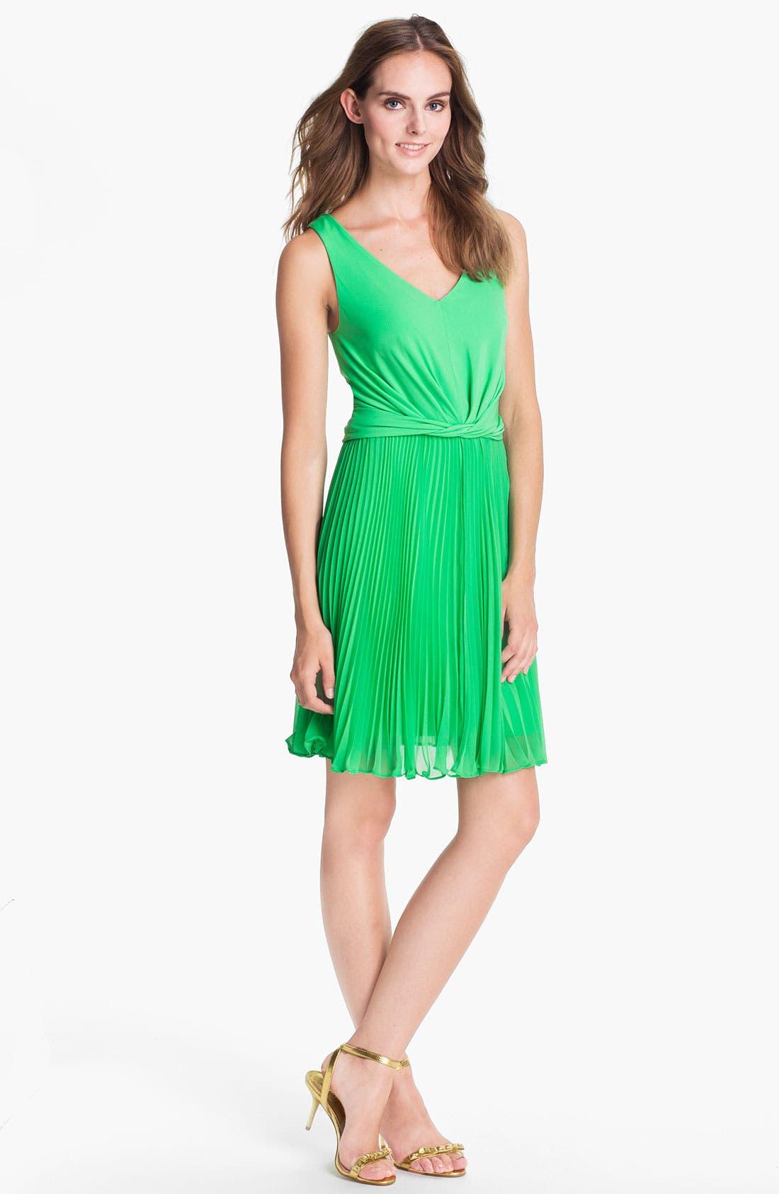 Main Image - Suzi Chin for Maggy Boutique Pleated Chiffon Dress