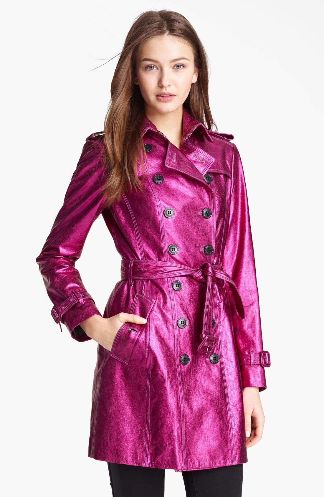 London Metallic Leather Trench Coat,                         Main,                         color, Fuchsia