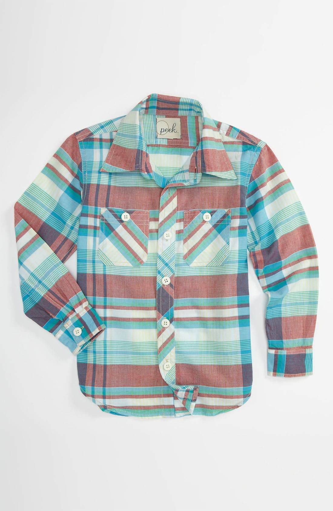 Alternate Image 1 Selected - Peek Plaid Utility Shirt (Toddler, Little Boys & Big Boys)