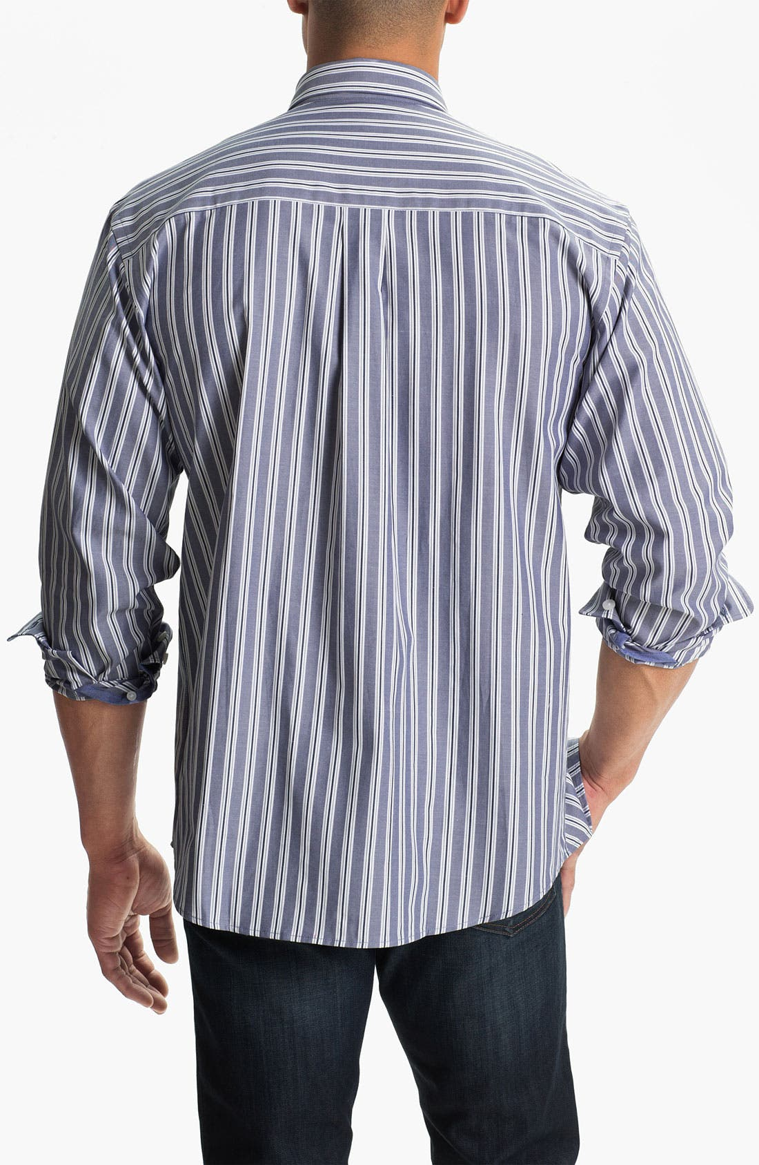 Alternate Image 2  - Cutter & Buck 'Atherton Stripe' Regular Fit Sport Shirt (Big & Tall)