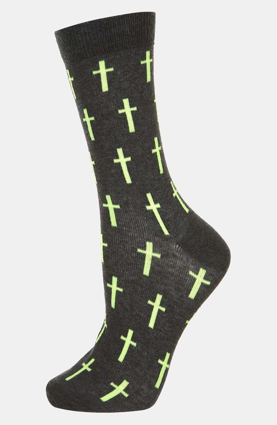 Alternate Image 1 Selected - Topshop Cross Ankle Socks