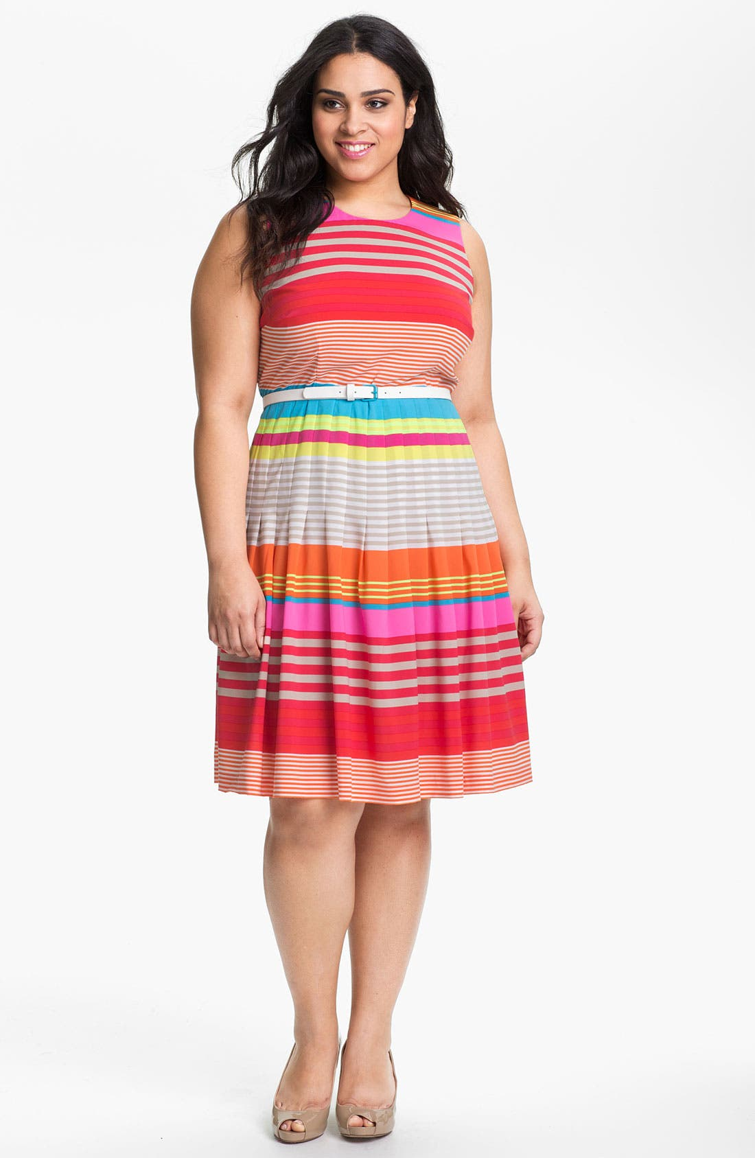 Alternate Image 1 Selected - Calvin Klein Belted Stripe Dress (Plus)